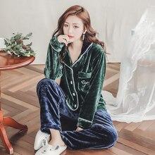 Plus Size 3XL 4XL 5XL Warm Flannel Pajamas for Women Full Length Ladies Velvet Pyjama Set