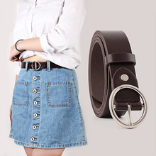 Luxury Ring Women Leather Belt High Quality Women Fashion 2018 Belts Girl Jeans Belt Yellow Brown Ladies Belt WB086(China)