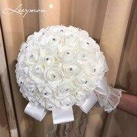 2018 Bridal Wedding Boeket Kunstmatige Decoratie Bloem Kralen Kristal Zijde Rose Bruiloft accessoires Gratis Verzending