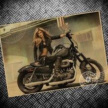Póster de película de papel Kraft Retro para mujer sexi para motocicleta vintage Bar Café arte Adhesivo de pared artesanías pintura para sala de estar 42X30CM