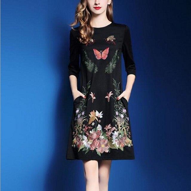 f779fe12ea Zmvkgsoa Spring Women Black Embroidery A-line Dresses Elegant Long Sleeve Casual  Dress For Women Retro Vestidos Plus Size Y10570