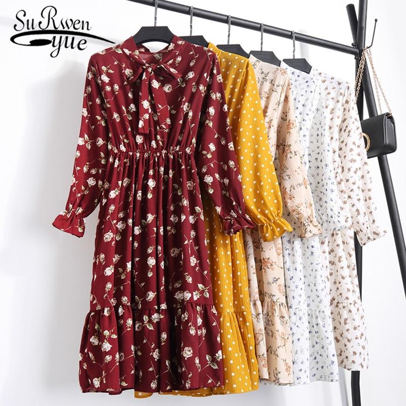 1b2392d5bf0 Модные женские платья 2019 лето осень шифоновое платье цветочный принт  женское платье с длинным рукавом Элегантные винтажные Длинные платья .
