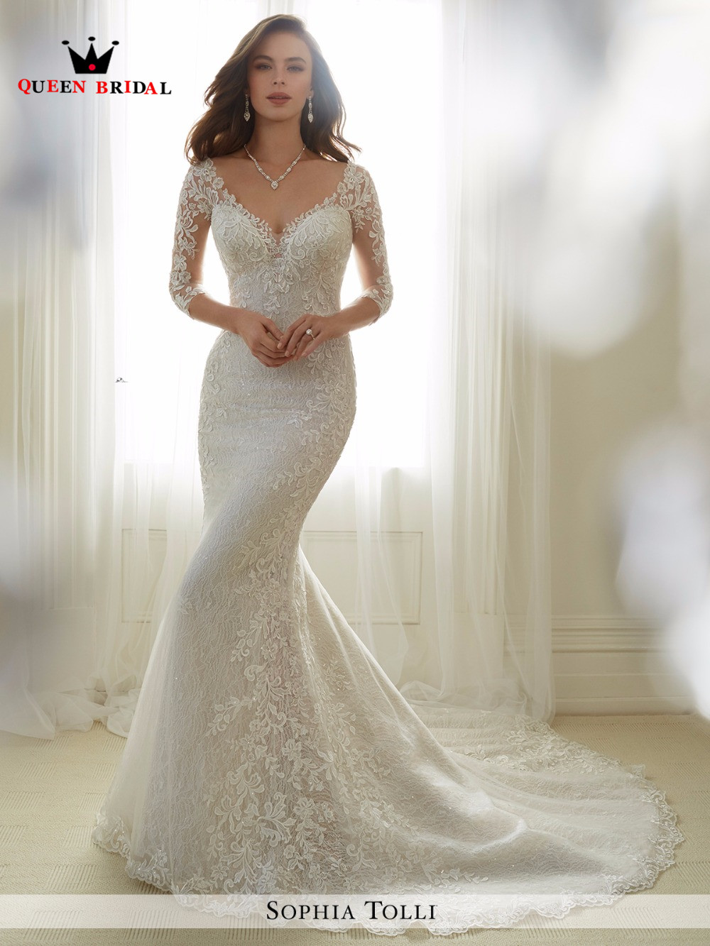 custom made 2017 new design sheath 3 4 sleeve lace beading sexy women wedding gowns wedding