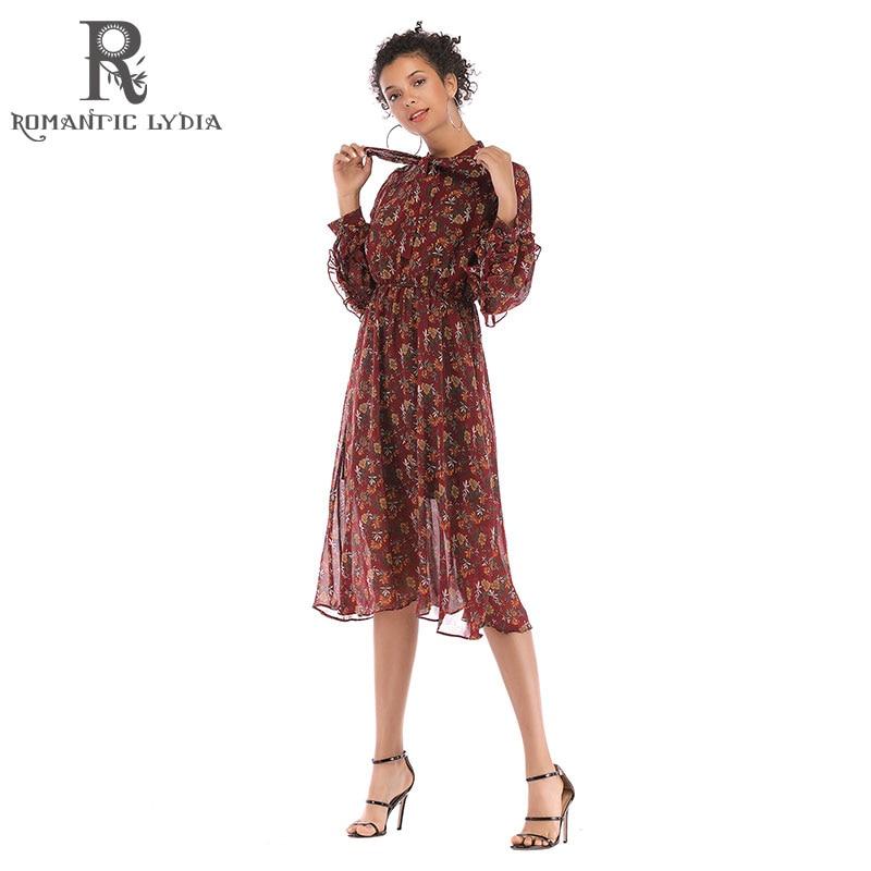 Spring Autumn Lady Long Chiffon Dress 2019 New Women Mesh Flower Print Pleated Dresses Female Vestidos