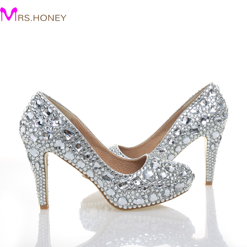 c646490582 Dazzing 2 Inches middle Heel Handmade Lady Wedding Dress Shoes Bridal Shoes  Diamond Woman Spring Evening