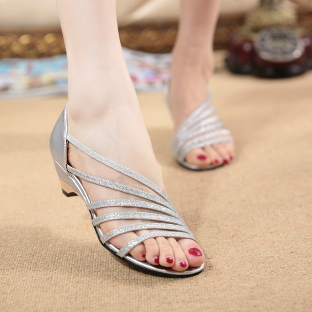 Summer new style wedges women sandals sweet elegant comfortable slip on  glitter solid flat sandals temperament women shoes-in Women s Sandals from  Shoes on ... c8506945f5ff