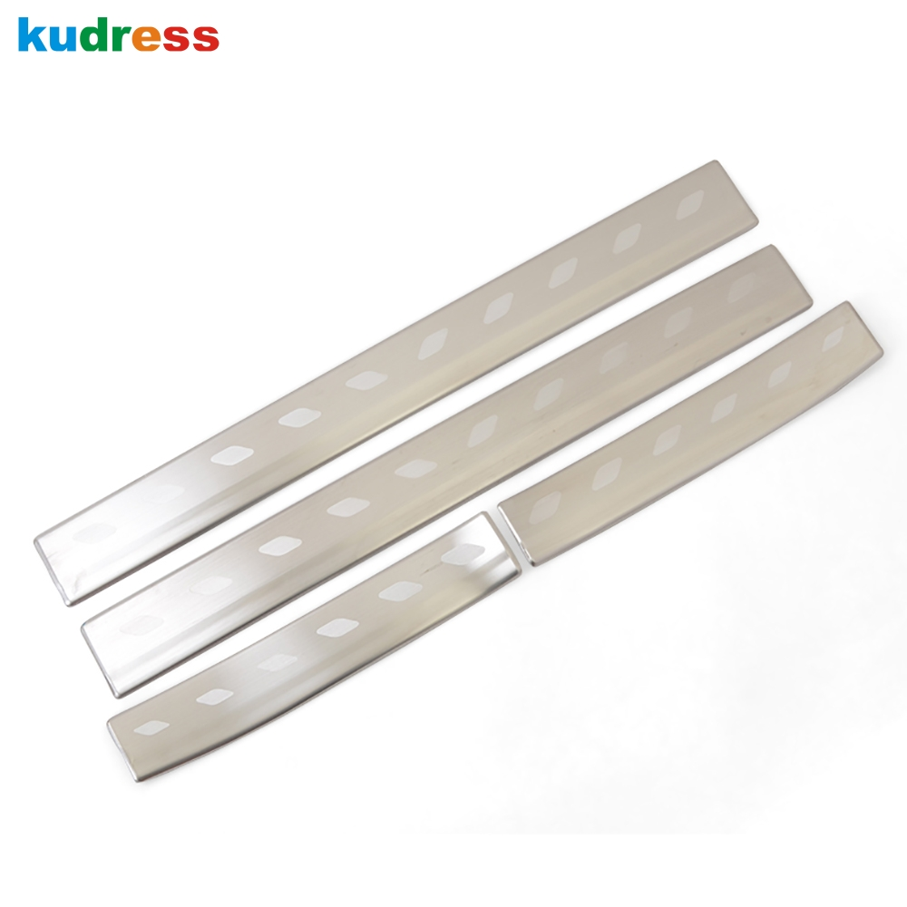 For Toyota Yaris Vitz 2017 2018 Stainless Steel Door Sill Protector Pedal Scuff Plate Cover Trim Car Styling Accessories 4pcs jy sus304 stainless steel black door sill scuff plate molding trims car styling accessories for toyota hiace 200