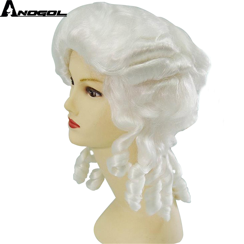 Anogol Baroque Women Historical Long Curly White Cosplay Wig Colonial George Washington Lawyer Judge Grey Costume Synthetic Wigs