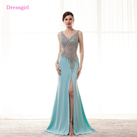 Turquoise Evening Dresses 2018 Mermaid V Neck Chiffon Beaded Crystal Slit Sexy Long Evening Gown Prom
