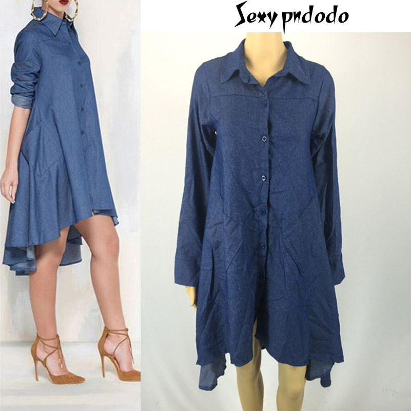 2016 Sexy Denim Midi dress Casual Office Jeans Shirt Dresses Asymmetrical Hem Robe Summer Bodycon Dress Plus Size Women Clothing