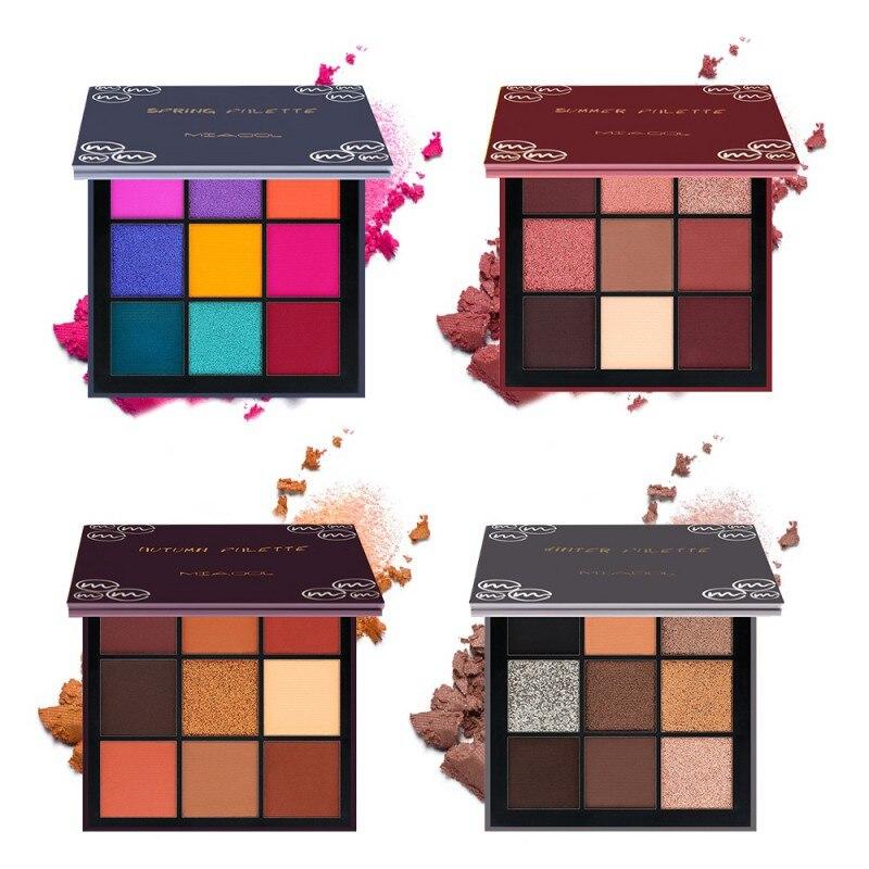 9 farben 4 Jahreszeiten Lidschatten Lang anhaltende Wasserdichte Palette Matte Schimmer Glitter Schatten Von Lidschatten Palette Erröten make-up