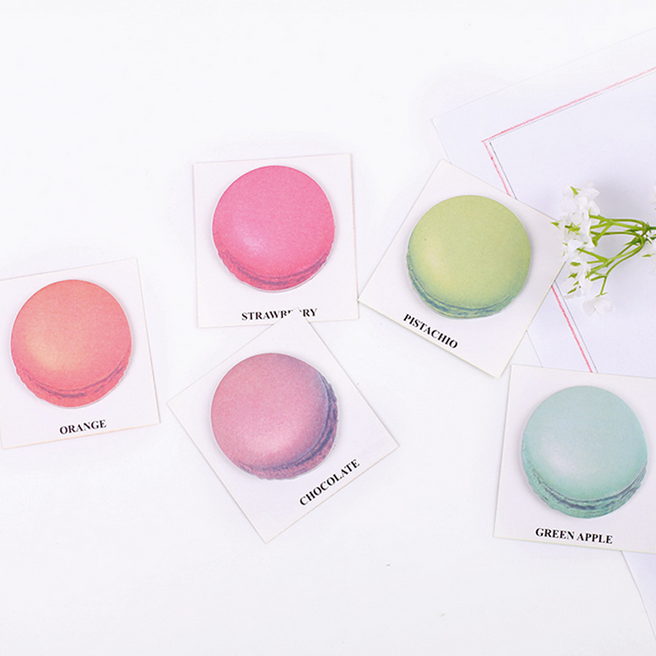 2Pcs Realistic Macaron Dessert Sticky Notes Post it Stickers Decoration Message Memo Pad 025