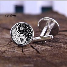 VERDVE New 20mm fashion handmade Cufflink Wholesale Yinyang Skulls Wicca Gifts Cabochon witchcraft High Quality Cufflink jewelry(China)