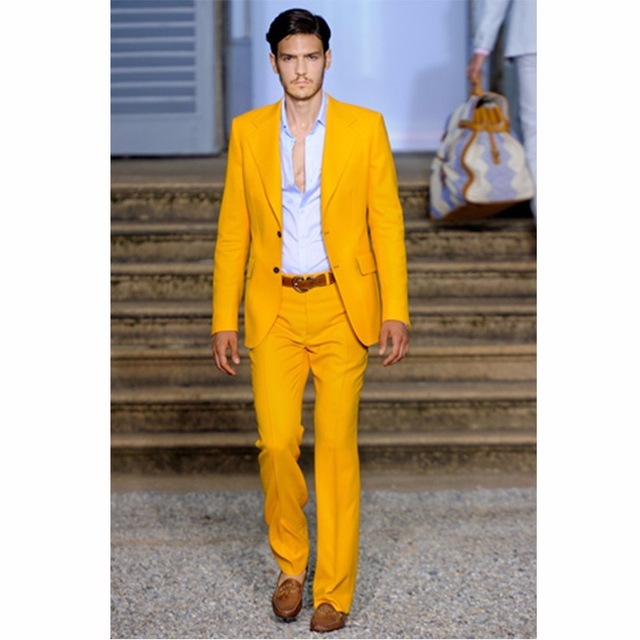 2017 New Paris Fashion Yellow Men Suits Tailored Slim Fit Best Men Wedding Suits Casual Vacation Prom Wear (Jacket+Pants+Tie)