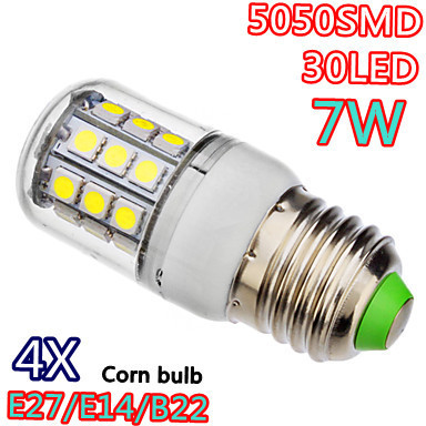 Retail 4X E14 E27 G9 7W 30*5050 SMD LED Bulb White / Warm White 220V Corn Light spotlight LED Lamp bulbs With Cover 360 Angle