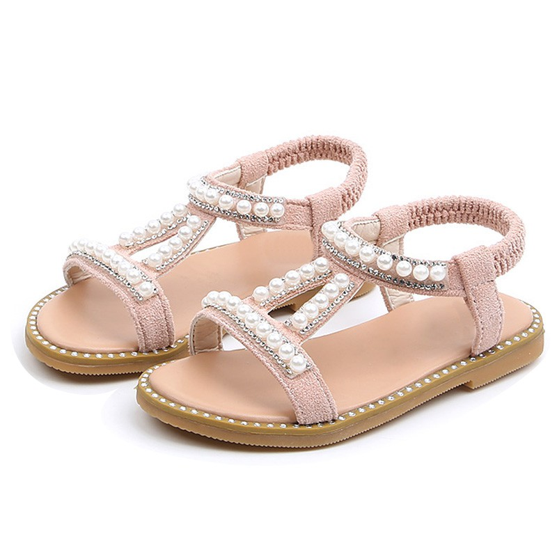 Infant Child Kids Baby Girl Pearl Crystal Single Princess Roman Shoes Sandals US