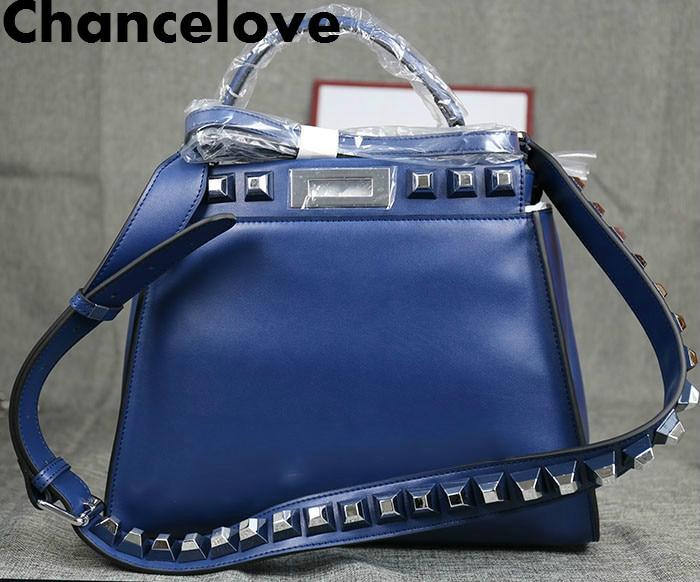Luxury Brand 2018 Winter Women Cowhide Handbag Fashion Rivet Strap Shoulder Bags Famous Designer Handbag Totes bolsa feminina цена и фото