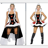 2018 new sexy Queen of Hearts costume deluxe cosplay costume with crown and petticoat high quality Helloween Party fancy dress