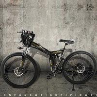Electric Bicycle Powerful Electric Bike Front Bag 48V 12AH 500W Mountain EBike 24 Speed Electric Bike