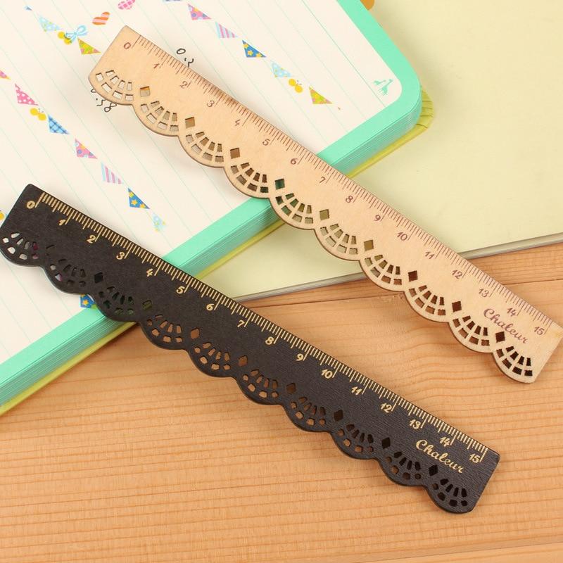 1 PCS 16CM Korea Zakka Kawaii Lovely Stationery Lace Brown Wood Ruler Sewing Ruler Office School Promotional Stationery