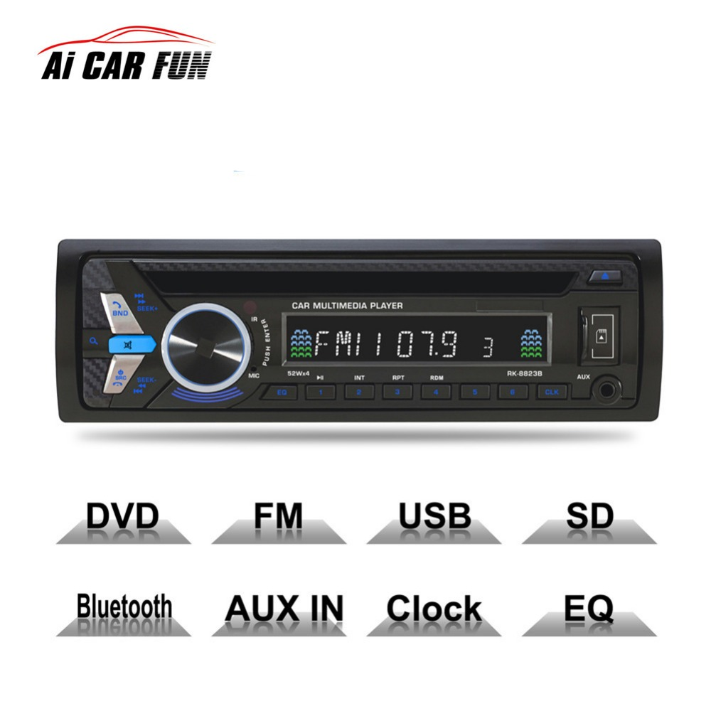 8823B Bluetooth 1DIN Car DVD 12V FM Aux Input Car Stereo Radio Audio Player Receiver CD VCD WMA MP3 Player with SD/USB Port 8823b bluetooth 1din car dvd 12v fm aux input car stereo radio audio player receiver cd vcd wma mp3 player with sd usb port