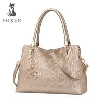 FOXER Authentic Women's Cow Split Leather Handbag Fashion Lady Tote Purse Luxury Shoulder Bag for Women Commute Messenger Bags