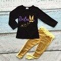 Новорожденных девочек одежда из хлопка верю бабочка bling Осень/зимний костюм дети бутик одежды брюки золото Блестками длинные рукава