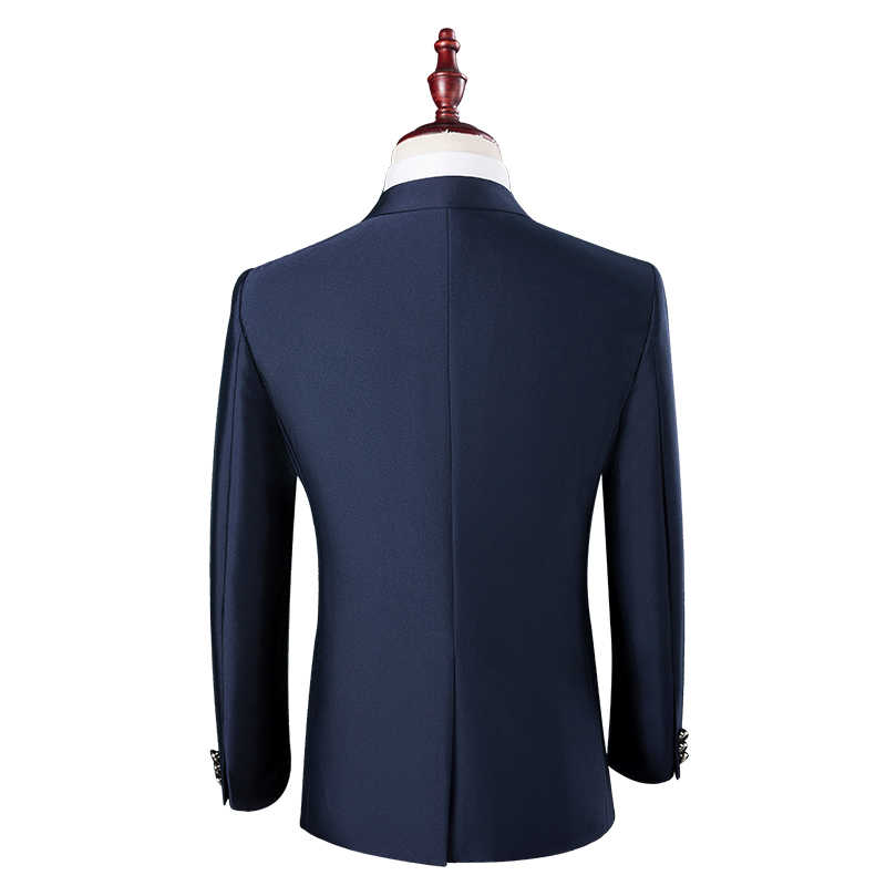 2019 estilo Britânico dos homens de negócios de moda casual único botão ternos/masculino cor sólida terno blazers jacket + pants conjuntos