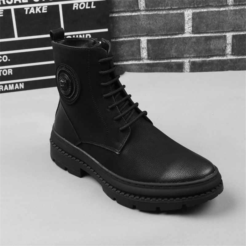 Nieuwe Merk Laarzen Mannen Lederen Botas Hombre Hoge Kwaliteit Modis Mannen Britse Militaire Laarzen Herfst Winter Werkschoenen Veiligheidsschoenen