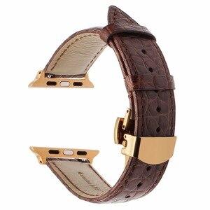 Image 2 - אמיתי תנין עור רצועת השעון עבור iWatch אפל שעון 38mm 40mm 42mm 44mm סדרת 5 4 3 2 1 להקת פרפר אבזם קרוקו רצועה