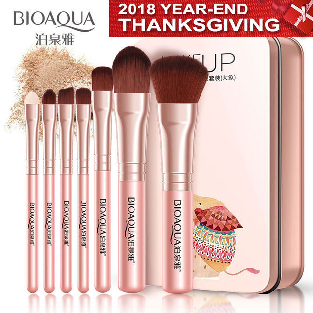 BIOAQUA Soft Synthetic Hair Makeup Tools Kit MakeUP Black Leather Case Cosmetic Beauty Makeup Brush Best Make Up Brushes 7Pcs