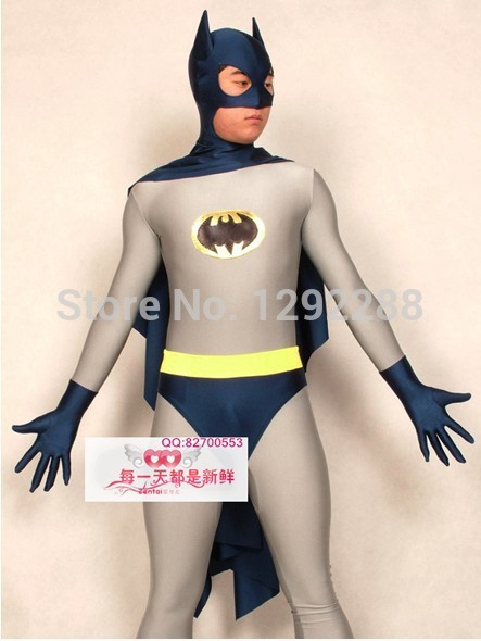 Free shipping, Cosplay ClothingThe cosplay Zentai Halloween lycra Costume clothes adult Batman  leotard