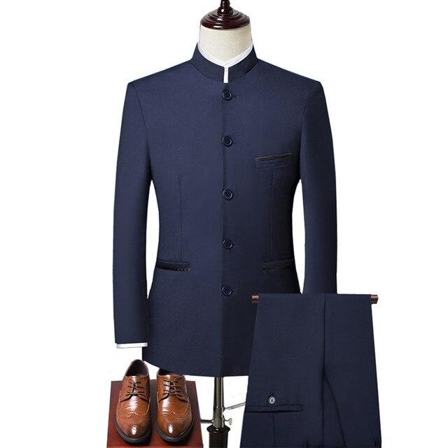 (ジャケット + ベスト + パンツ) スーツスリーピース中国風のスタンドカラースリム中国シンプルなソリッドカラーのドレススリーピースブレザー