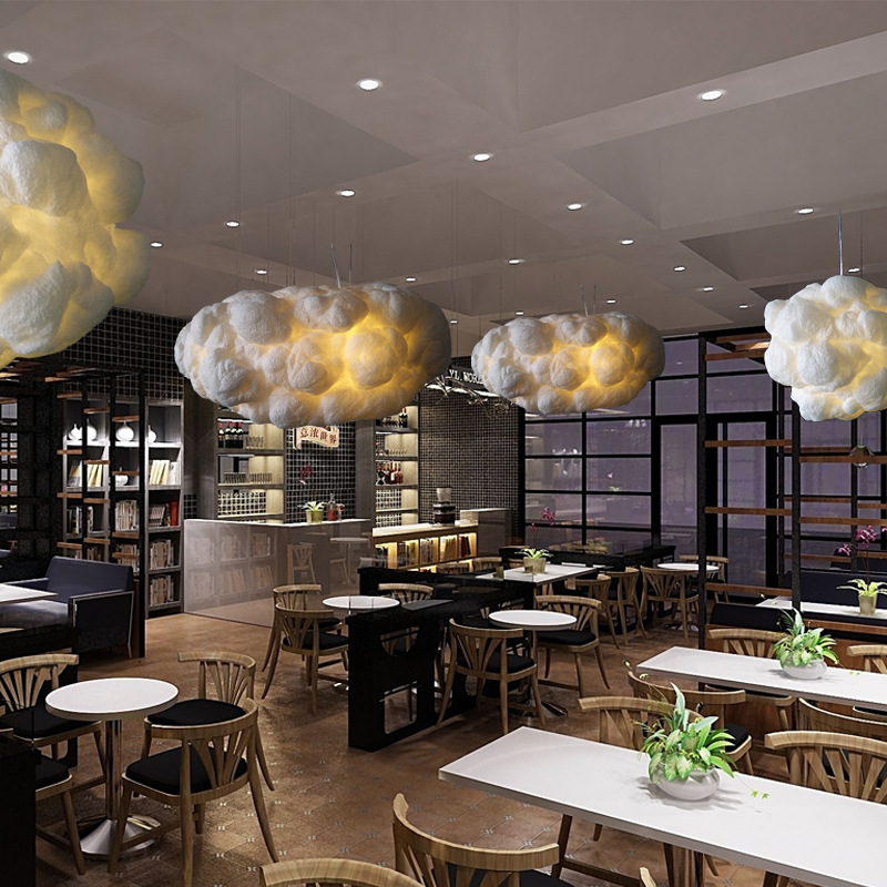 Creative Romantic Art Decor Soft Floating Clouds Pendant Light White Silk Cotton Hanging Lamp For Restaurant Bar Dining Room кпб евро lux cotton romantic кбr 41 рис 11715 11716 вид 1 селин