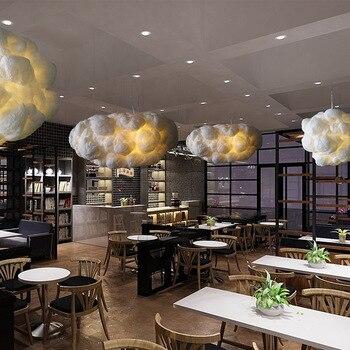 Creative Romantic Art Decor Soft Floating Clouds Pendant Light White Silk Cotton Hanging Lamp For Restaurant Bar Dining Room