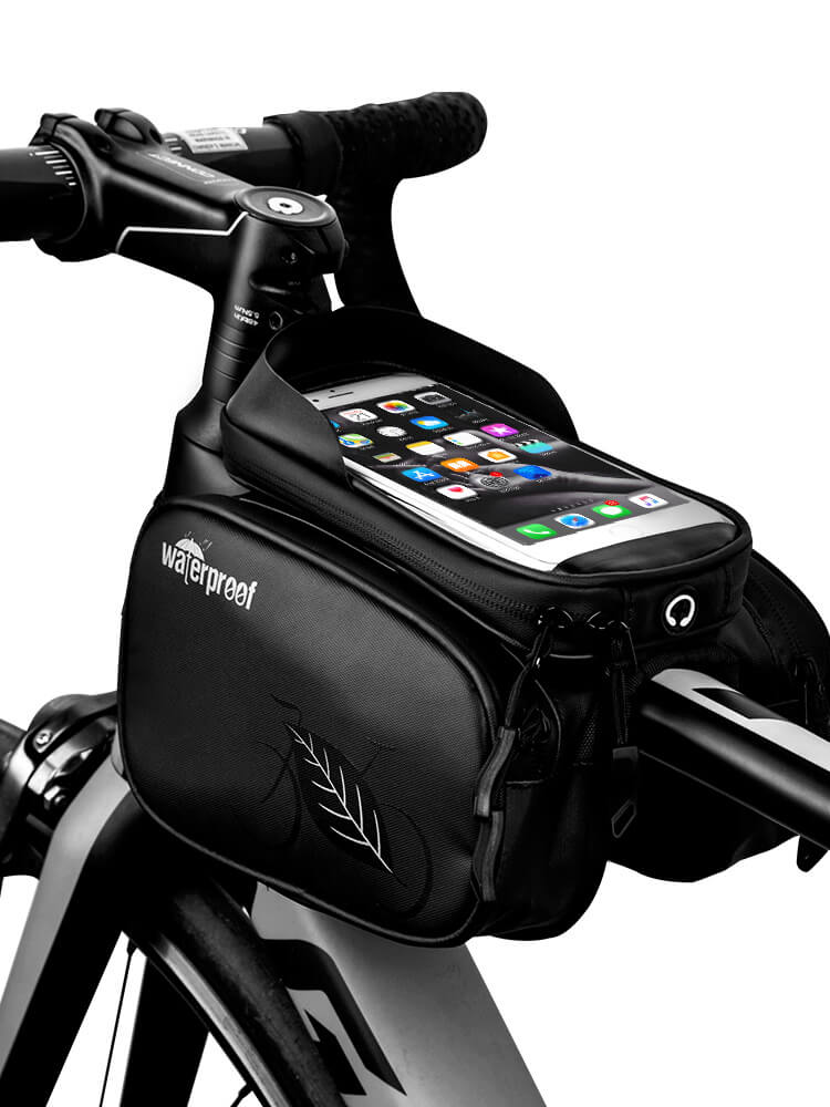 Waterproof 1L Bike Bag Bicycle Frame Front Head Top Tube Cycling Bag Double Pouch 5 5 Inch Touch Screen Bicycle Bag Accessories in Bicycle Bags Panniers from Sports Entertainment