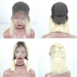 Image 5 - 613 Lace Front Human Hair Wigs T1B 613 Brazilian Straight Honey Blonde Short Bob Wigs Omber Bob Lace Front Wig Cut Dolago Remy