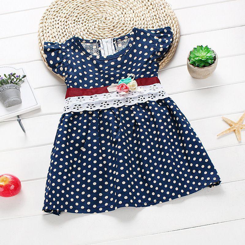 Kids Baby Girls Summer Sleeveless Lace Dresses Polka Dots Dress Sundresses