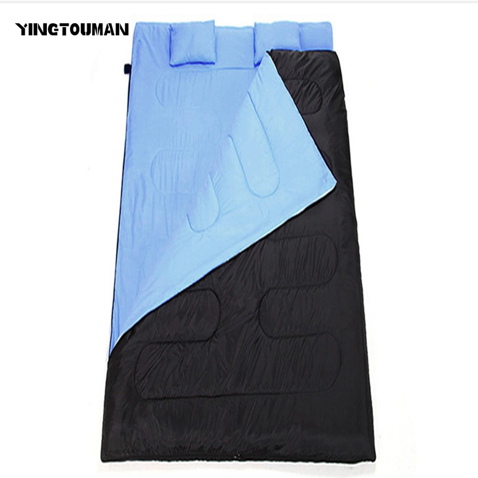 YINGTOUMAN 4 Season Camping Hiking Sleeping Bag Cotton Double Sleeping Bag 2 Person Outdoor Sleeping Bag with 2 Pillow Envelope outdoor portable insulated cooler picnic bag 4 person travelset with tableware lunch bag wine bag handle bag for camping hiking