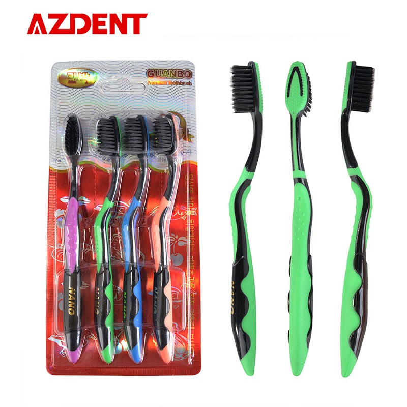 4 Pcs/Pack Nano Double Coat Toothbrush 625 Carbon 4P Toothbrush 4 Colors Oral Hygiene Toothbrush Health Adult Care Tooth Brush