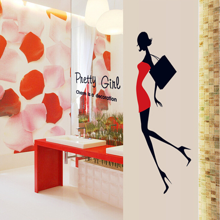Pretty Gril Poster Wall Sticker For Living Room DIY Woman Wall Decals PVC Decorativos Pegatinas De Pared Christmas Gift Cheap