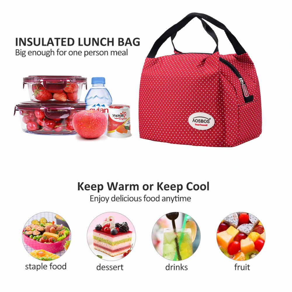 92624bce28f6 AOSBOS Reusable Insulated Thermal Lunch Bag Women Men Multifunctional 6L  Cooler And Warm Keeping Lunch Box
