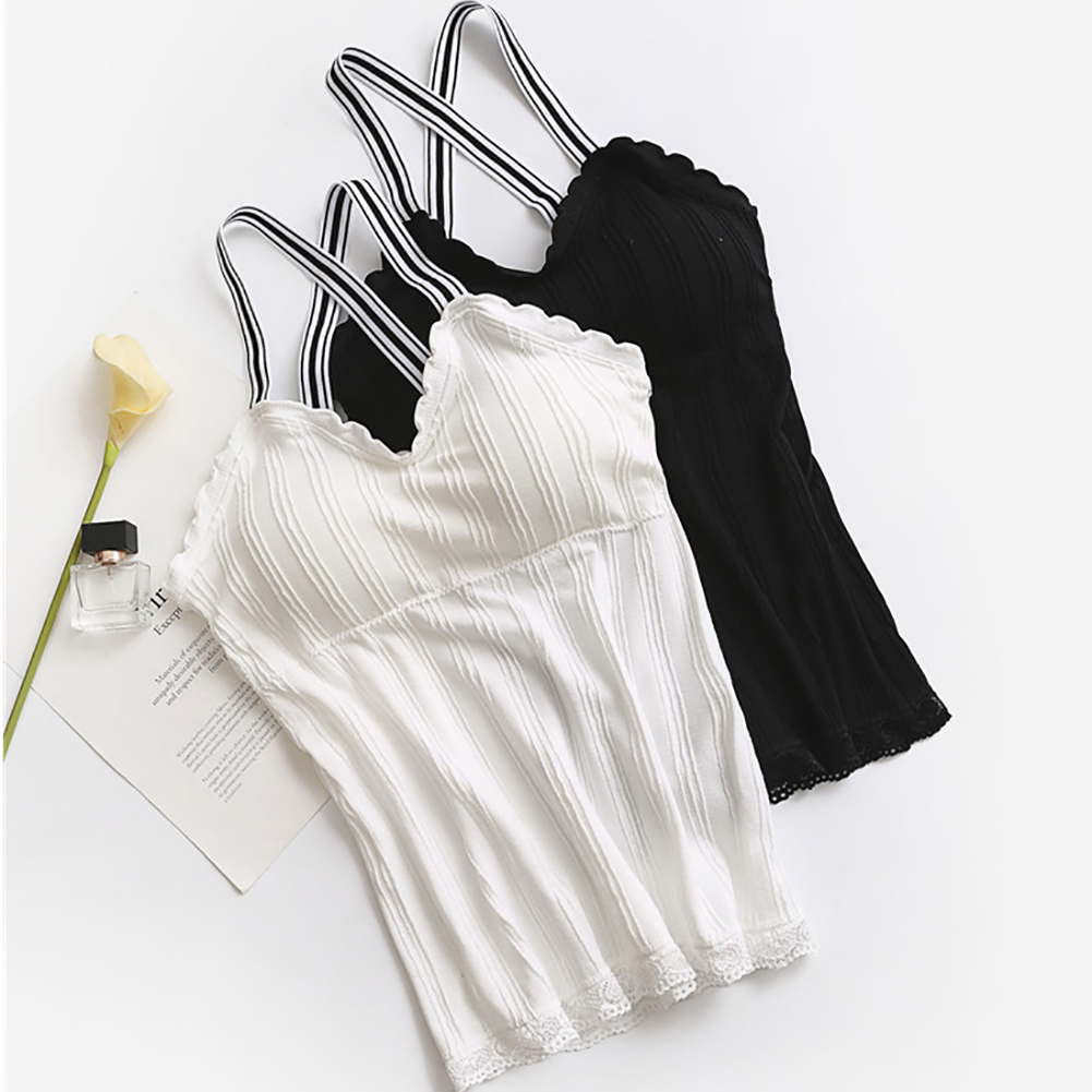 Women Sexy Padded Elastic Strap Stripe   Tank     Top   Camisole Vest Crop Shirt Blouse