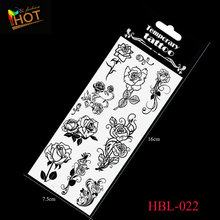 Time-limited Black Classic Fashion Sexy Temporary Body Art Tattoo Flash Stickers Waterproof Rose Flower Design