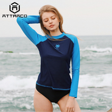 Attraco Rashguard Swimwear Women Swimsuit Long Sleeve Surfing Top Colorblock Rashguard Bike Biking Shirts UPF50+ Beachwear Sale цена