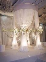 2 м диаметром по 3 м высокий круглый круг белые свадебные трубы и простыня Pavilion для свадьбы, хупы, фон Стенд занавес