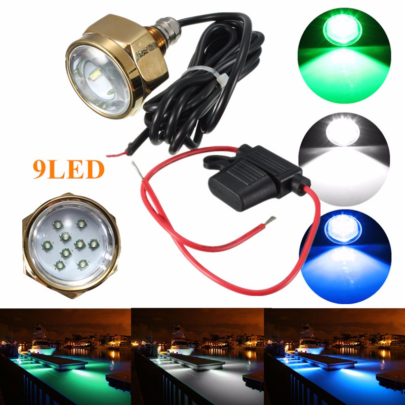 Smuxi 27W 9 LED Boat Drain Plug Light IP68 Waterproof Rate Blue Brightest 1800 Lumens Underwater Boat Lamp vga hdmi lcd edp controller board led diy kit for lp116wh6 spa1 lp116wh6 spa2 11 6 inch edp 30 pins 1lane 1366x768 wled ips tft