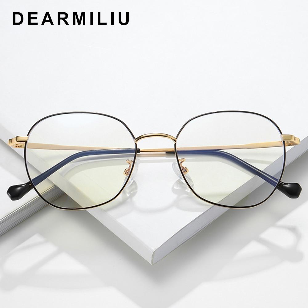 Dearmiliu Oval Rose Gold Frame Anti Blue Light Blocking Glasses Led Reading Radiation-resistant Glasses Computer Gaming Eyewear Ture 100% Guarantee