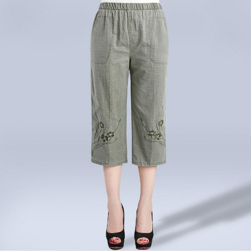 2019 Women summer cotton Linen   Pants     Capris   High Waist Straight   Pants   Plus Size Casual   Pants   Women LY146