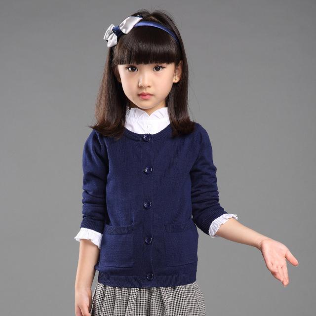 Niños Suéter de Las Muchachas Del Otoño Del Resorte Niños ropa de Algodón Botón O-cuello de la Manga Larga de Los Niños Del Arco Niños Cardigan Suéteres